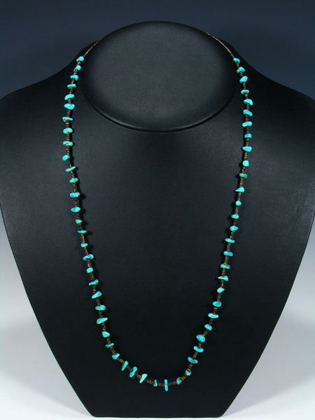 Native American Single Strand Turquoise and Heishi Choker Necklace