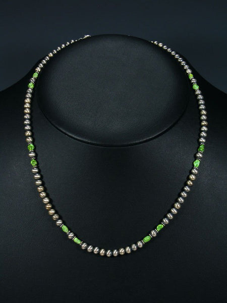 Navajo Single Strand Gaspeite and Sterling Silver Beaded Necklace