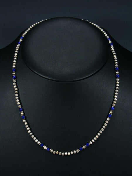 Navajo Single Strand Lapis and Sterling Silver Beaded Necklace