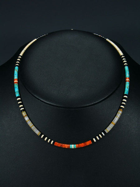 Native American Indian Santo Domingo Turquoise and Apple Coral Choker Necklace