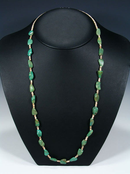 Native American Indian Jewelry Single Strand Turquoise Nugget Necklace