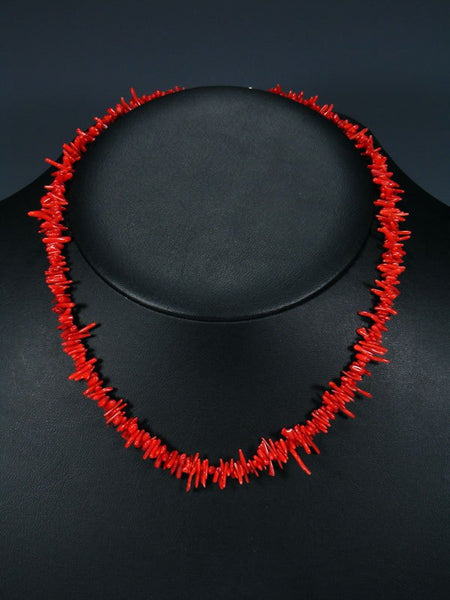 Native American Red Coral Single Strand Necklace