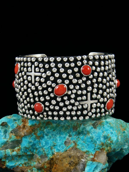 Native American Indian Jewelry Sterling Silver Coral Cross Cuff Bracelet