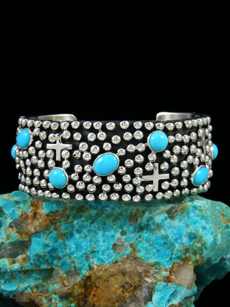 Native American Indian Jewelry Sterling Silver Turquoise Cross Cuff Bracelet