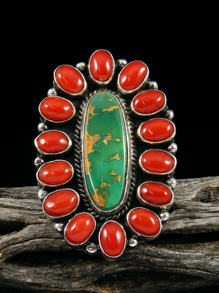 Royston Turquoise and Coral Ring, Size 7 1/2