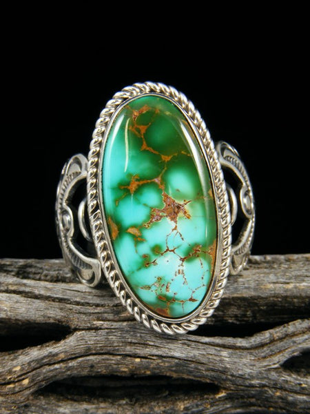 Natural Royston Sterling Silver Turquoise Ring, Size 8.5