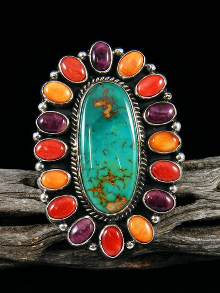 Royston Turquoise and Spiny Oyster Ring, Size 9