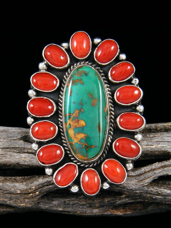 Royston Turquoise and Coral Ring, Size 8