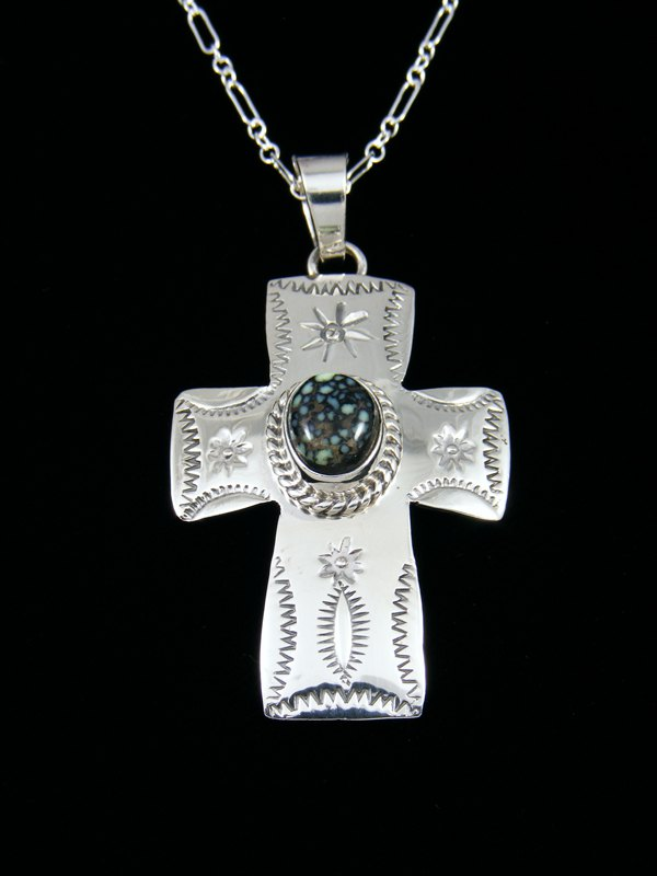 Native American Indian Jewelry Nevada Variscite Cross Pendant