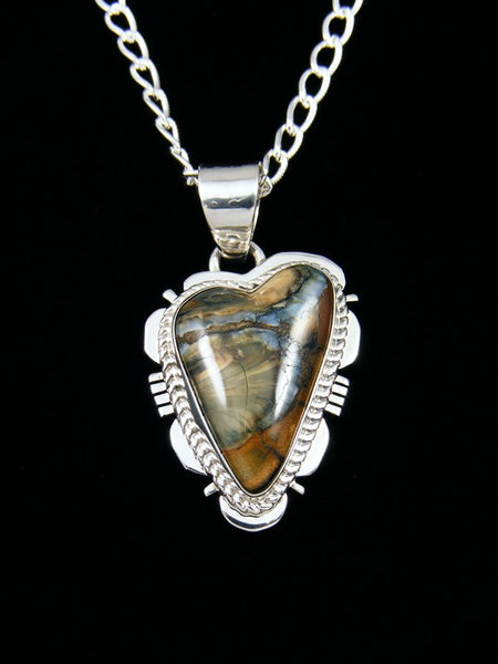 Native American Indian Jewelry Fossilized Mammoth Tooth Heart Pendant