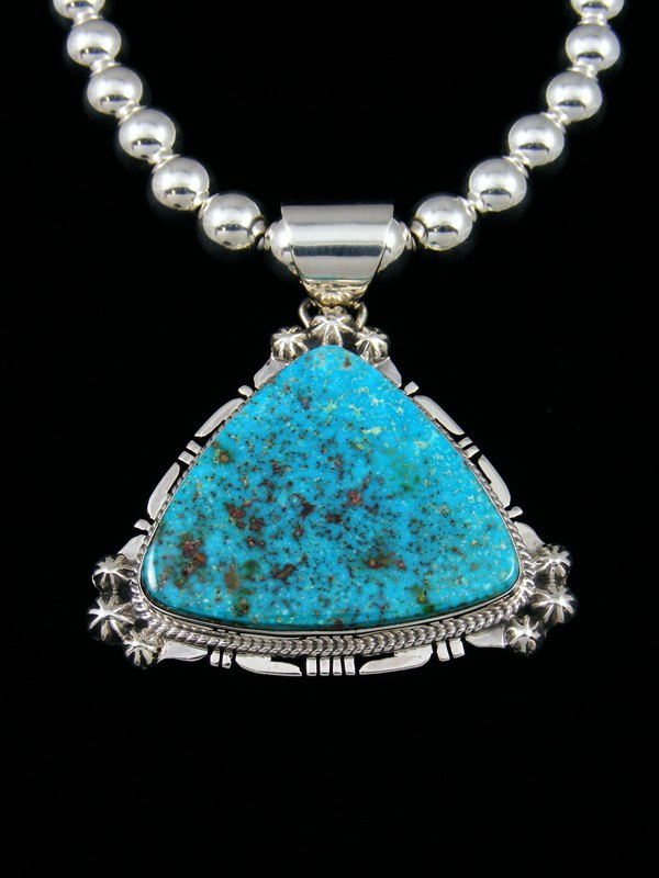 Kingman Turquoise Navajo Sterling Silver Pendant With Beads