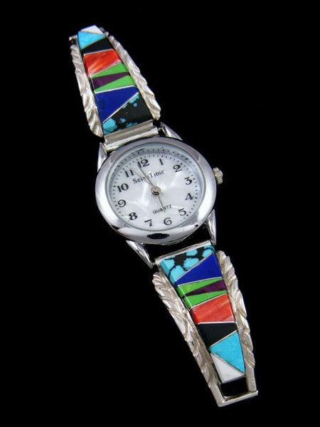Native American Indian Jewelry Multistone Ladies' Inlay Watch