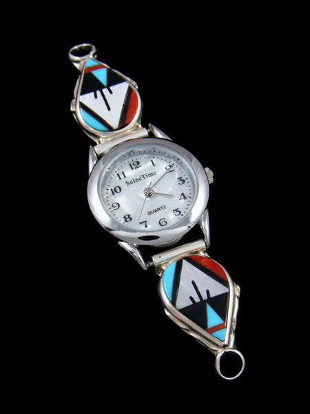 Native American Jewelry Zuni Multistone Inlay Ladies' Watch