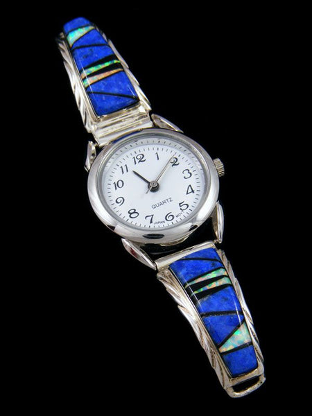 Native American Indian Jewelry Lapis Ladies' Inlay Watch