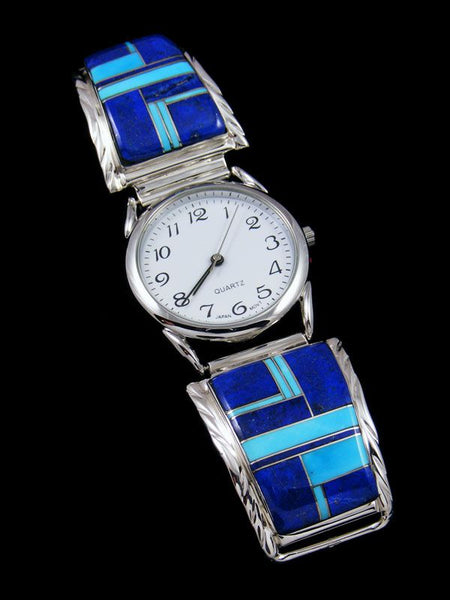 Native American Indian Jewelry Lapis Men's Inlay Watch