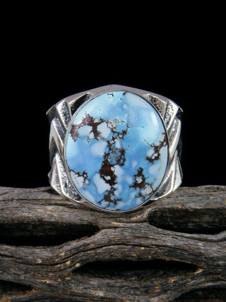 Sterling Silver Tufa Cast Golden Hill Turquoise Ring Size 10