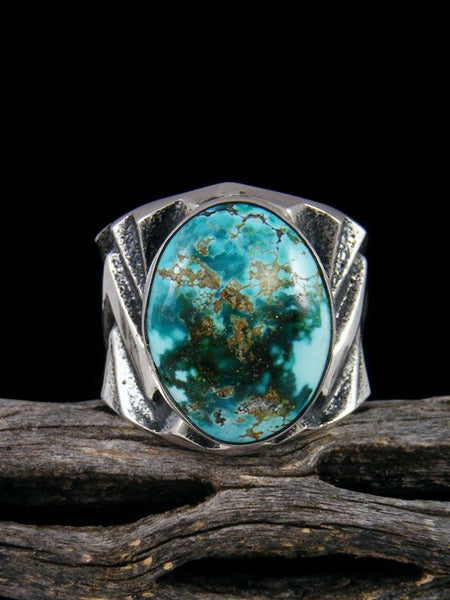 Sterling Silver Tufa Cast Sierra Nevada Turquoise Ring Size 8