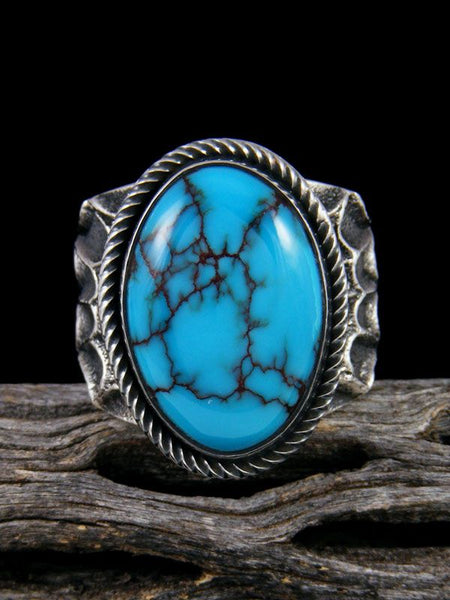 Sterling Silver Tufa Cast Egyptian Turquoise Ring Size 11