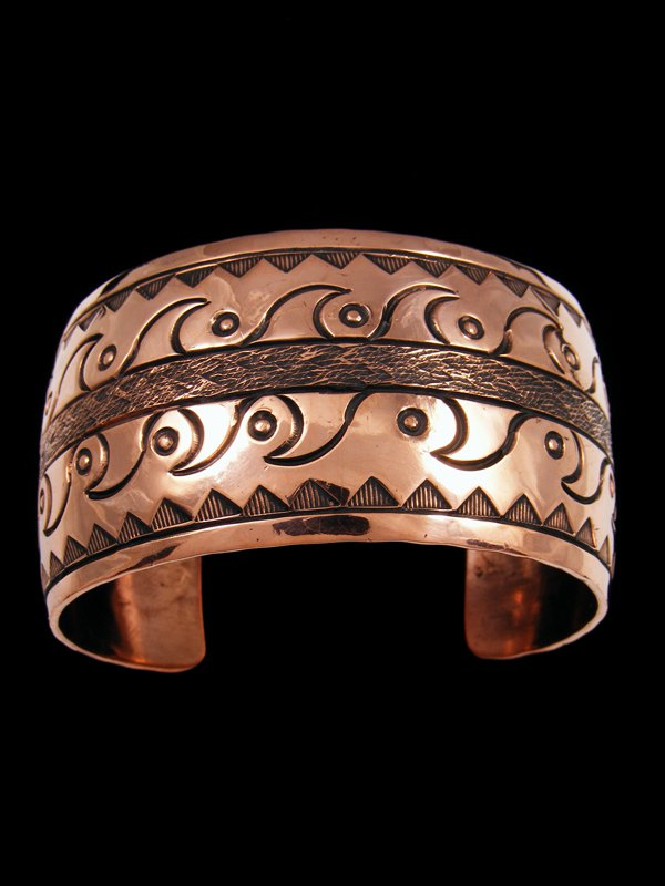 Native American Indian Jewelry Copper Stamped Bracelet