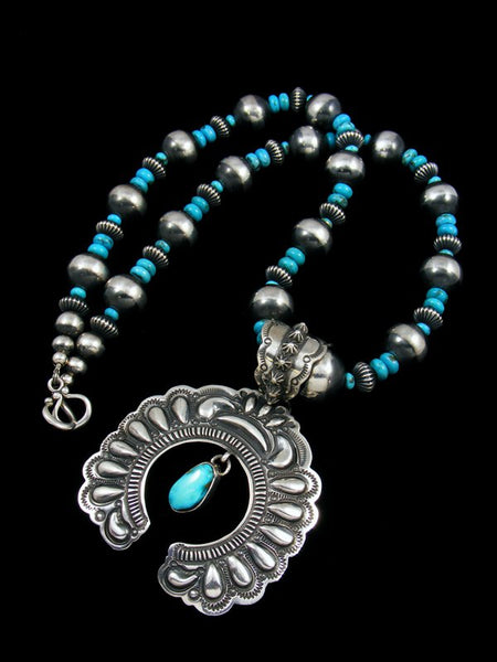 Sterling Silver Native American Indian Turquoise Naja Pendant With Beads