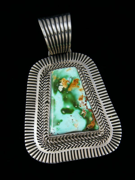 Native American Royston Turquoise Cold Chisel Sterling Silver Pendant