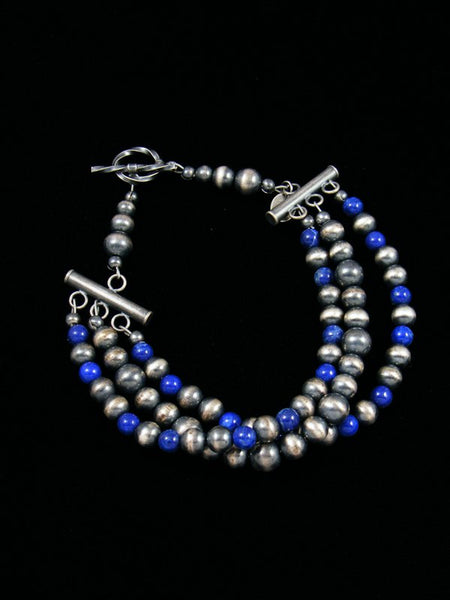 Native American Indian Jewelry Blue Lapis and Silver Bead Bracelet