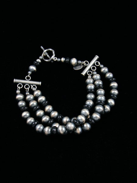 Native American Indian Jewelry Black Onyx and Silver Bead Bracelet
