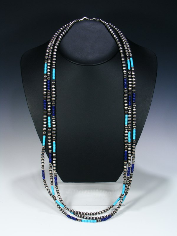 Native American Turquoise, Lapis and Sterling Silver Bead Three Strand Necklace