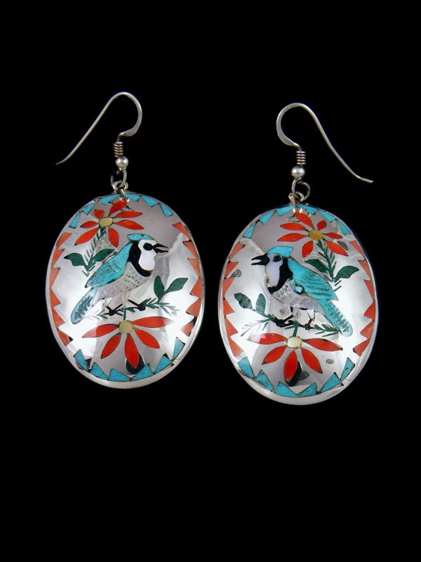 Zuni Inlay Sterling Silver Bluejay Inlay Dangle Earrings