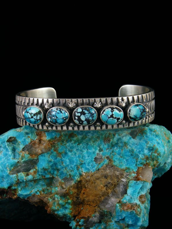 Native American Indian Stamped Cloud Mountain Turquoise Cuff Bracelet