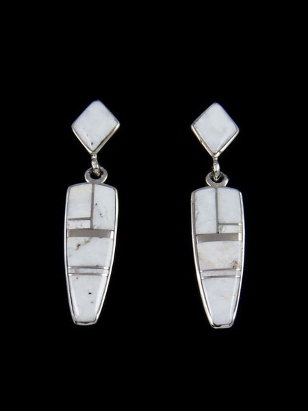 Navajo White Buffalo Inlay Post Earrings