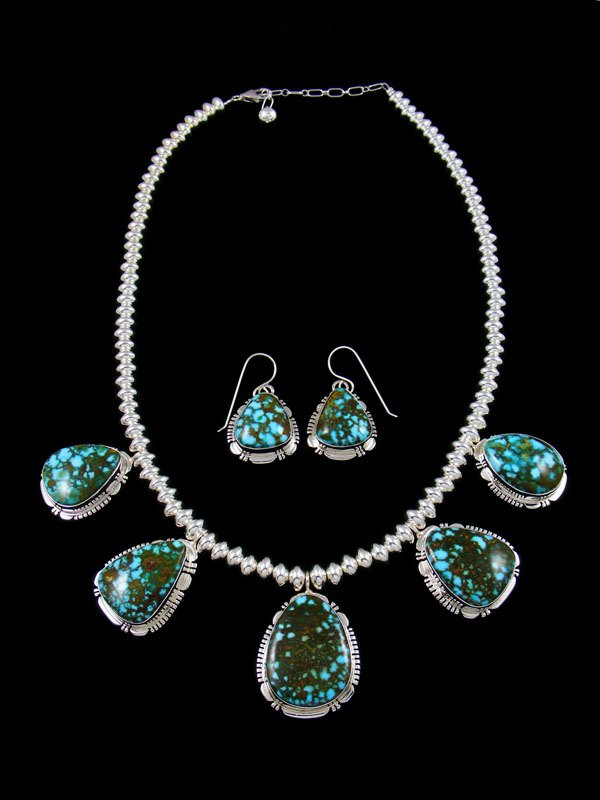 Navajo Kingman Turquoise Sterling Silver Tear Drop Necklace Set