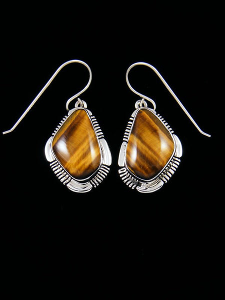 Navajo Tiger Eye Sterling Silver Dangle Earrings
