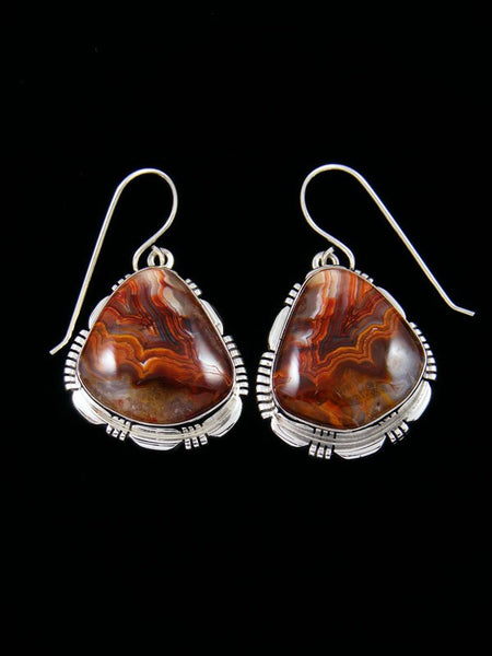 Navajo Crazy Lace Agate Sterling Silver Dangle Earrings