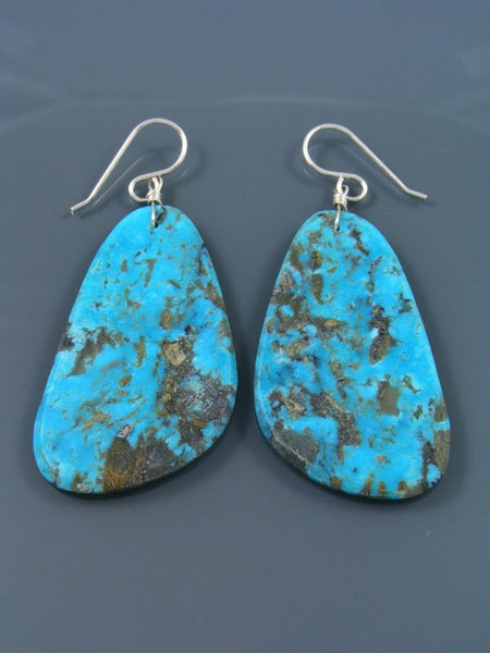 Santo Domingo Turquoise Slab Dangle Earrings