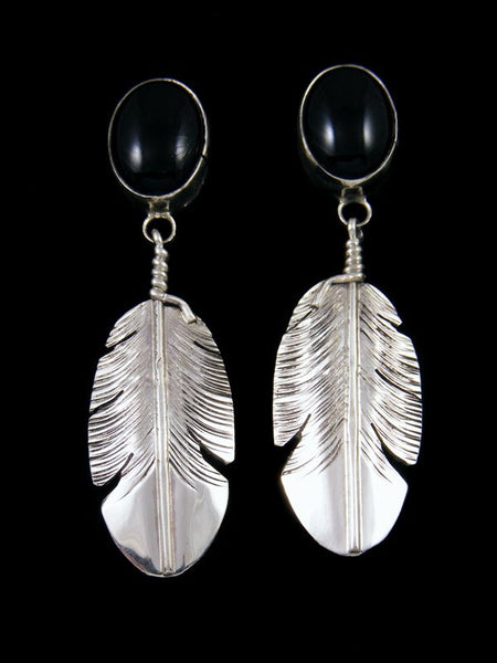 Navajo Onyx Sterling Silver Feather Post Earrings