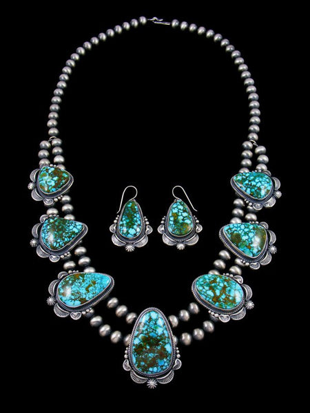 Kingman Redweb Turquoise Large Tear Drop Necklace and Earring Set
