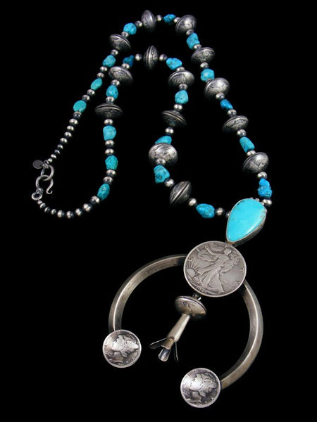 Mercury Dime and Silver Half Dollar Turquoise Squash Blossom Necklace