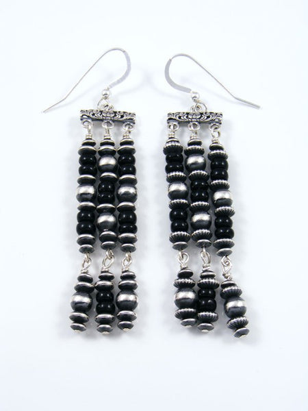 Onyx Sterling Silver Bead Dangle Earrings