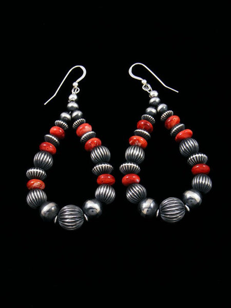 Spiny Oyster and Sterling Silver Bead Dangle Earrings