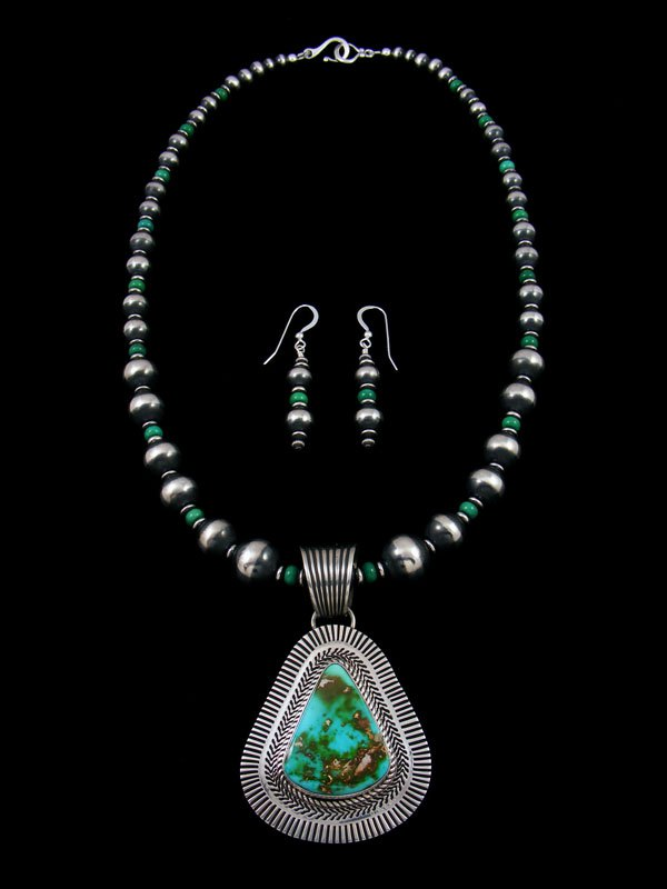 Native American Natural Royston Turquoise Necklace Earring Set