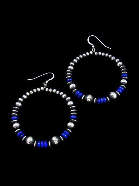 Lapis and Sterling Silver Bead Dangle Earrings