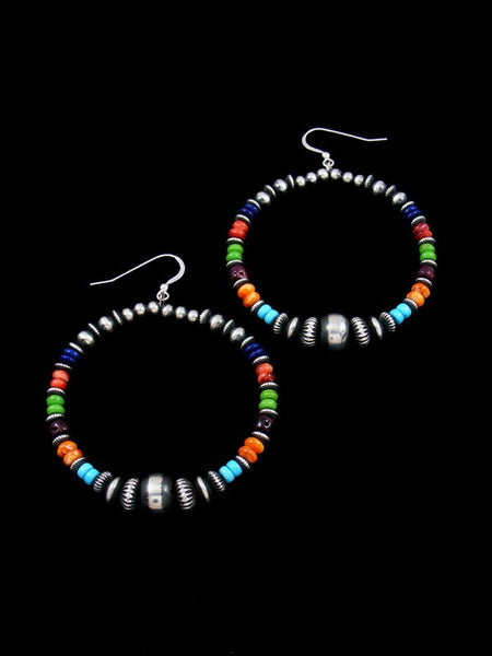 Multistone Sterling Silver Bead Dangle Earrings