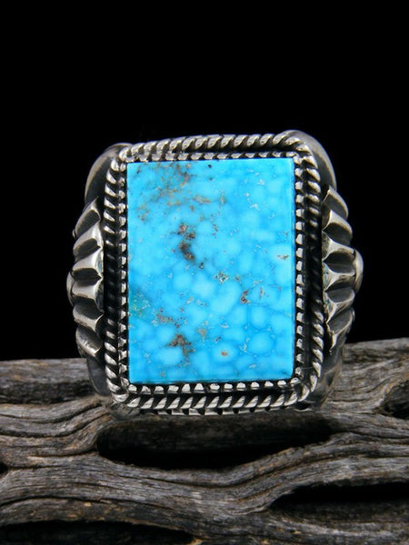 Native American Kingman Turquoise Sterling Silver Ring Size 11