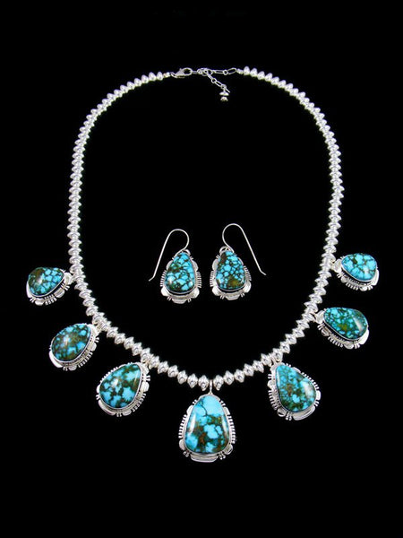 Navajo Kingman Redweb Turquoise Sterling Silver Tear Drop Necklace Set