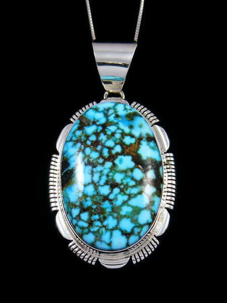 Native American Sterling Silver Kingman Red Web Turquoise Pendant