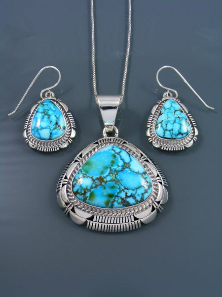 Native American Sterling Silver Kingman Red Web Turquoise Pendant and Earring Set