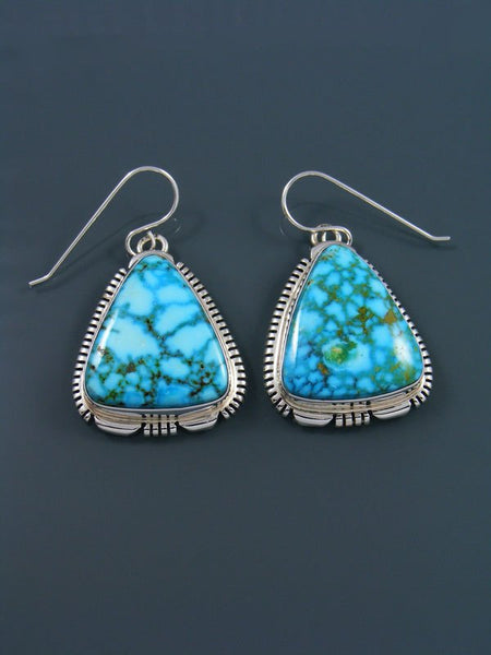 Native American Sterling Silver Kingman Redweb Turquoise Dangle Earrings