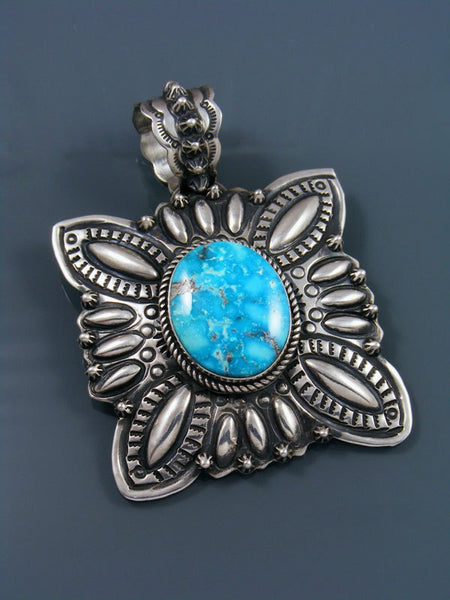 Large Native American Indian Sterling Silver Kingman Turquoise Pendant
