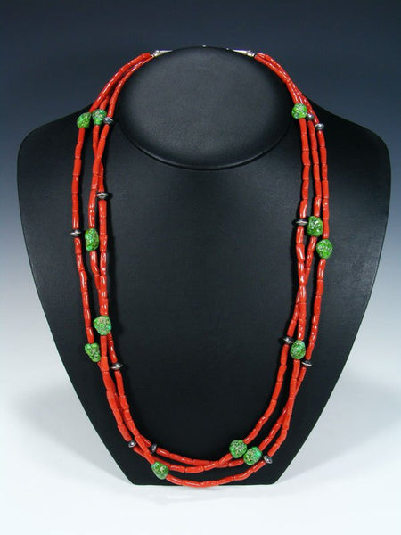 Native American Indian Jewelry Natural Coral and Sonoran Gold Necklace